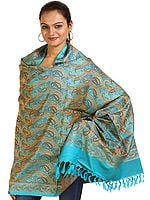 Cyan-Blue Banarasi Shawl with Woven Paisleys