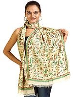 Beige Stole from Bangal with Kantha Embroidered Warli Motifs