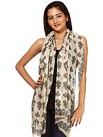 Beige Stole with Printed Bootis