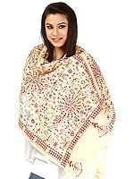 Chamomile Kantha Stole with Hand-Embroidered Warli Motifs