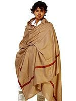 Plain Khaki Men's Shawl with Sozni Embroidery on Border