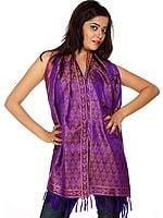 Spectrum-Blue Tehra Banarasi Stole Hand-Woven with All-Over Paisleys