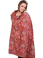 Brick-Red Pure Pashmina Kashmiri Shawl with Sozni Embroidered Flowers