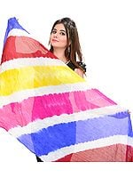 Multi-Colored Tie-Dye Rainbow Dupatta from Jodhpur with Hanging Beads