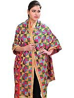 Multi-color Hand-Embroidered Phulkari Dupatta From Punjab
