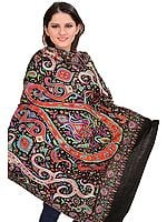 Jet-Black Kashmiri Pashmina Shawl with Sozni Hand-Embroidered Paisleys