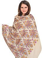 Cream Kashmiri Pure Pashmina Shawl with Papier Mache Hand-Embroidered Maple Leaves