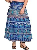 Ensign-Blue Wrap-Around Skirt with Printed Elephants and Deers