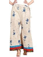 Dusty-White Block-Printed Casual Palazzo Pants from Pilkhuwa with Patch Border