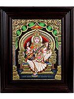 Goddess Saraswati Seated in Lalitasana Wearing Sari (Framed)