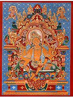 Tibetan Buddhist Vasudhara: The Goddess of Wealth (Brocadeless Thangka)