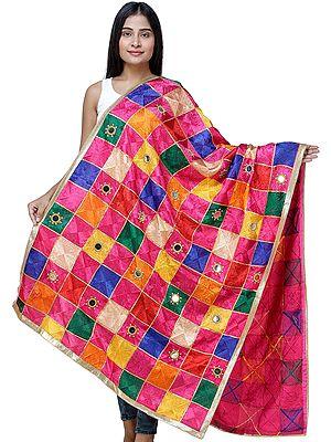 Multicolor Embroidered Phulkari Dupatta from Punjab with Mirrors and Beaded Zari Border