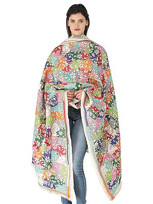 Multicolored Kantha Dupatta from Kolkata with Floral Hand-Embroidery All-Over