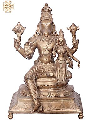"15"" Bhagawan Varaha with Bhudevi | Handmade | Madhuchista Vidhana (Lost-Wax) | Panchaloha Bronze from Swamimalai"
