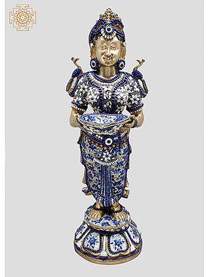 "29"" Paavai Vilakku (Pair) | Deep Lakshmi | Handmade | Inlay Work | Brass Statue | Made In India"