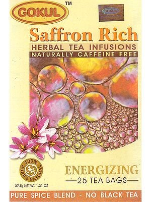 Saffron Rich Herbal Tea Infusions Naturally Caffeine Free: Energizing 25 Tea Bags