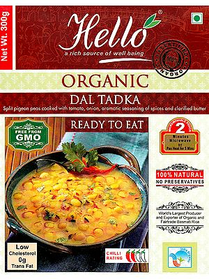 Organic Dal Tadka (Split Pigeon Peas Cooked with Tomato, Onion, Aromatic Seasoning of Spices and Clarified Butter Ready to Eat)