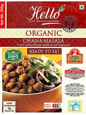Organic Chana Masala (A Spicy Masala Chick Peas Cooked Dry with Tangy Spices Ready to Eat)