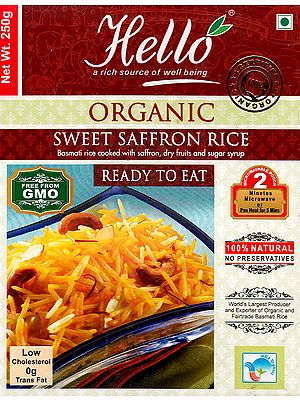 Organic Sweet Saffron Rice (Basmati Rice Cooked with Saffron, Dry Fruits and Sugar Syrup) (Ready to Eat)