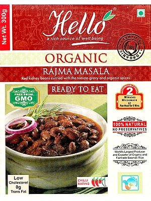 Organic Rajma Masala (Red Kidney Beans Curried with the Tomato Gravy and Organic Spices) (Ready to Eat)