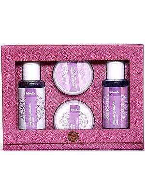 Fabindia Pack of Lavender Jasmine Face Wash, Skin Toner, Face and Body Gel Scrub, & Nourishing Cream