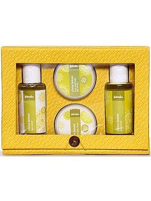 Fabindia Pack of Citrus Lemon Face Wash, Skin Toner, Face and Body Gel Scrub & Nourishing Cream
