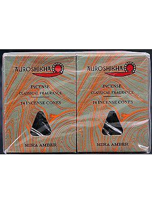Auroshikha Incense Classical Fragrance 14 Incense Cones Mira Amber