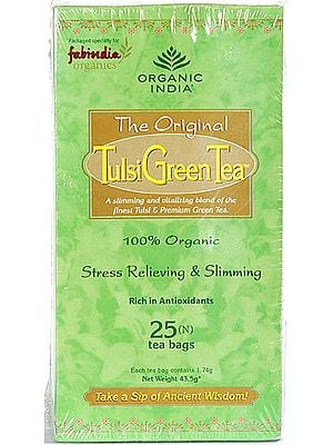 Organic India- The Original  Tulsi Green Tea (A slimming and vitalizing blend of the finest Tulsi & Premium Green Tea) 100% Organic Stress Relieving & Slimming, Rich in Antioxidants, 25 Infusion Bags