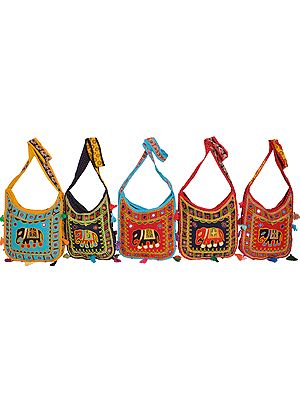 Lot of Five Elephant Shopping Bags with Crewel Embroidery and Mirrors