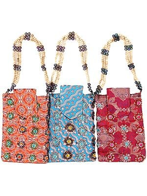 Lot of Three Beaded Mobile Bags from Banaras with Key Chain and Waist Hook