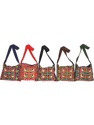 Lot of Five Elephant Bags with Mirrors and Ari Embroidery