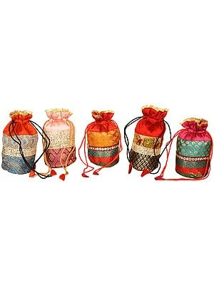 Lot of Five Drawstring Potli Bags with Brocade Weave