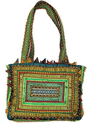 Green Rabari Shoulder Bag from Kutch Made by Hand