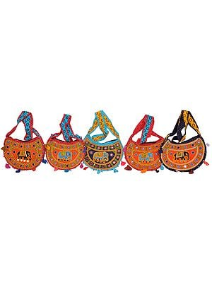Lot of Five Shopper Bags from Kutch with Embroidered Elephant and Mirrors