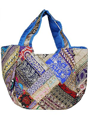 Shoulder Bag from Kutch with Floral Embroidery and Sequins