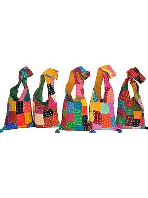 Lot of Five Multicolored Patchwork Bags from Hawa Mahal