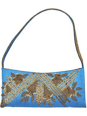 Turquoise-Blue Purse with Golden Sequins and Bead Work