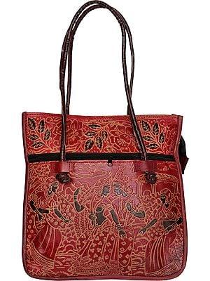 Double Handle Shantiniketan Bag showing Krishna with Gopis