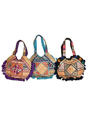 Lot of Three Shopper Bags from Gujarat with Embroidered Patchwork and Sequins