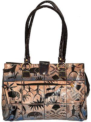 Shantiniketan Pure Leather Handbag from Kolkata with Folk Print