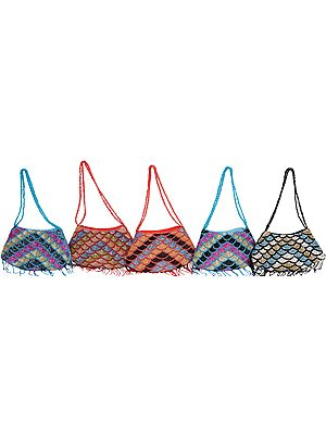Lot of Five Boat Shaped Handbags Densely Embroidered with Multi-Colored Beads