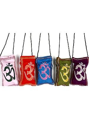 Lot of Five Embroidered Om Mobile Bags