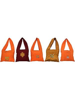 Lot of Five Nepalese Jhola Bags with Embroidery in Multi-Colored Thread