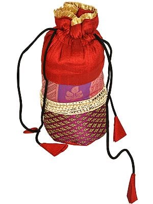 Drawstring Potli Bag with Brocade Weave