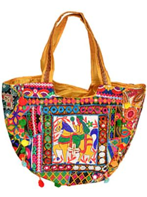 Multicolor Embroidered Shopper Bag with Mirrors