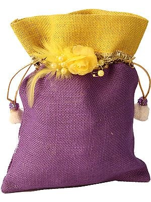 Drawstring Potli Bag with Embellishments and Patchwork