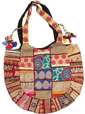 Multicolor Shopper Bag from Kutch with Embroidery and Sequins