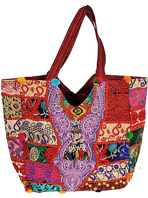 Antiquated Shoulder Bag from Kutch with Patchwork