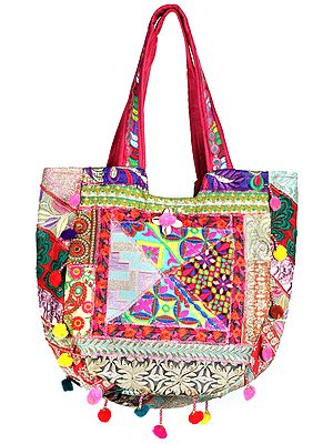 Multicolor Shopper Bag from Kutch with Floral-Embroidery and Hanging Pompoms