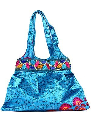 Azure Printed Shopper Bag with Embroidered Patch Border